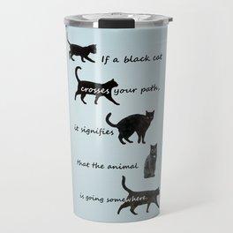 Black cat crossing, v.2 Travel Mug
