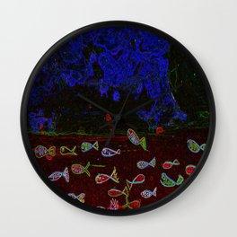 Neon fish Wall Clock