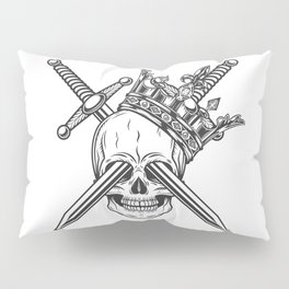 Vintage prince skull in crown with knight sword monochrome isolated vector illustration Pillow Sham