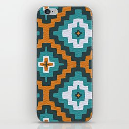 Turkish Kilim textured rug print in teal and orange, Bohemian iPhone Skin