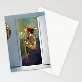 Angels Dancing- In Over My Head In Love, But It Sure Feels Nice - romantic portrait collage painting Stationery Cards