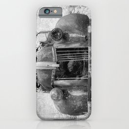 Missing Grill in Abandoned Pickup Rusting in Forest Black and White Infrared iPhone Case