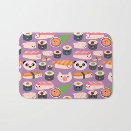 Kawaii sushi purple Bath Mat