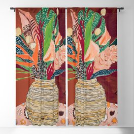Autumnal Bouquet of Flowers in Woven Basket Vase on Warm Auburn Rust Still Life Fall Floral Painting Blackout Curtain
