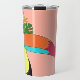 Toucan in flower crown monstera leaves Travel Mug