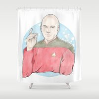 picard Shower Curtains featuring Captain Jean-Luc Picard of the Starship Enterprise by A Rose Cast