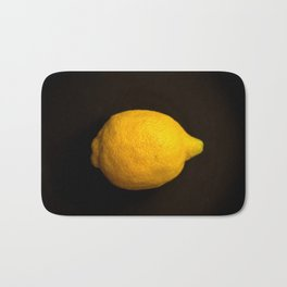 Yellow Lemon On A Black Background #decor #society6 Bath Mat
