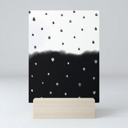 raindrop pattern in black and white Mini Art Print