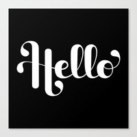 lettering Canvas Prints featuring Hello Lettering by Roberlan Borges