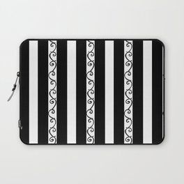 Stripes and Thorny Vines by Dark Decors - Black and Whites Laptop Sleeve