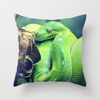 snake Throw Pillows featuring Snake by Yoshigirl