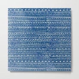 Classic Blue Tribal Pattern Metal Print