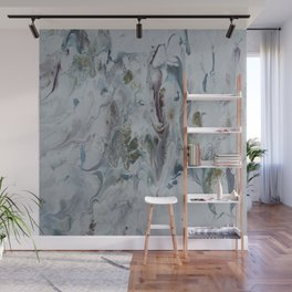 Teal, Eggplant, and Gold Marble Wall Mural