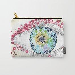 EYEBALL OUTSIDER ART eye painting strange weird bizarre eyelashes psychedelic watercolors acrylics pointillism modern artwork Carry-All Pouch