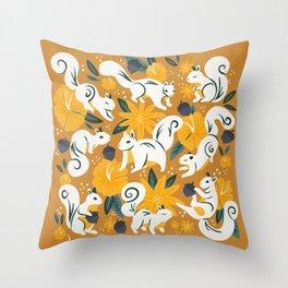 Squirrels & Blooms – Ochre Throw Pillow