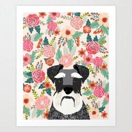 Schnauzer florals dog portrait dog art pet portraits by pet friendly Art Print