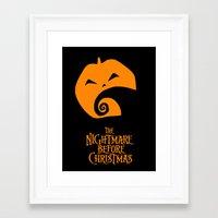 nightmare before christmas Framed Art Prints featuring The Nightmare before Christmas by Citron Vert