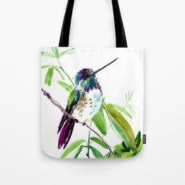 Hummingbird and Green Foliage, tropical green design Tote Bag