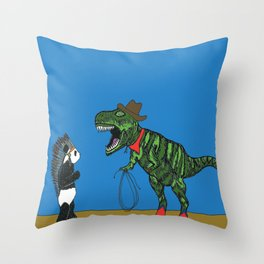 Dinosaur and panda play cowboys and Indians Throw Pillow