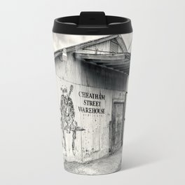 Black & White/Sepia-toned Photograph of Cheatham Street Warehouse, San Marcos, Texas Travel Mug