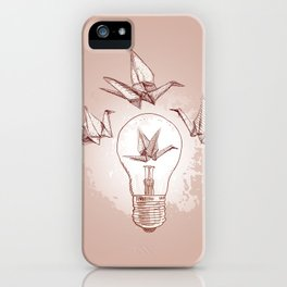 Origami paper cranes and light iPhone Case