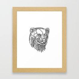 Brown Bear Head Doodle Framed Art Print