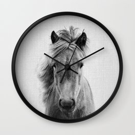 Wild Horse - Black & White Wall Clock