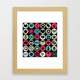 Colorful pattern with various elements Framed Art Print