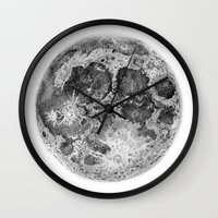 the moon Wall Clocks featuring Moon by Corinne Elyse