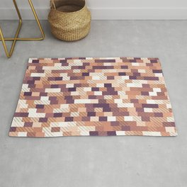 Solid brick wall with diagonal crossed lines, redwod and eggplant colored print Rug