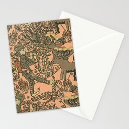 leprechaun in the forest with reindeer (pink). Stationery Cards