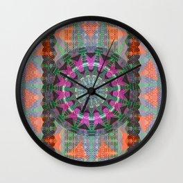 Boho Dark Lace Subtle Neon Fabric Mandala Print Wall Clock