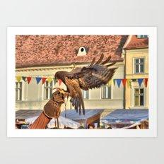 Falcon Landing on Falconer's Gauntlet Art Print