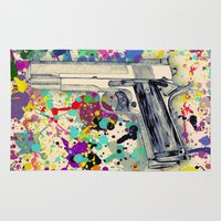 gun Area & Throw Rugs featuring Gun by Maressa Andrioli