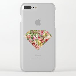 Vintage Retro flower pattern old fashioned Clear iPhone Case
