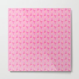 Candy Pink Christmas Tree Stripes Metal Print