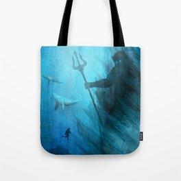 Scuba Diver meets Poseidon  Tote Bag