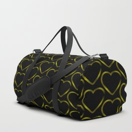 Cross metal pattern of golden hearts on a black background. Duffle Bag