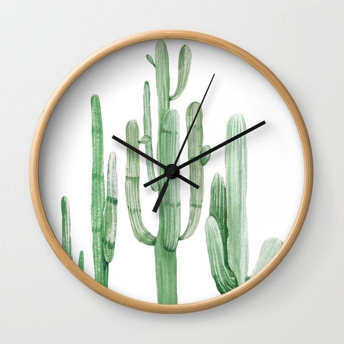 Three Amigos White + Green by Nature Magick Wall Clock