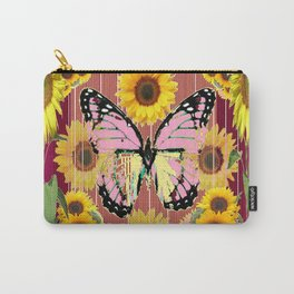 BURGUNDY SUNFLOWERS & PINK BUTTERFLY ART Carry-All Pouch