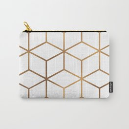 White and Gold - Geometric Cube Design Carry-All Pouch