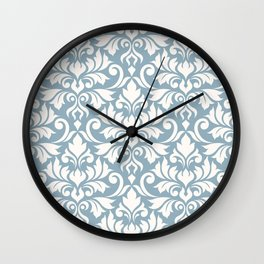 Flourish Damask Big Ptn Cream on Blue Wall Clock