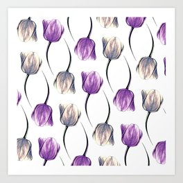 Metallic & Violet Tulips Art Print