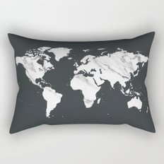 Marble World Map in Black and White Rectangular Pillow