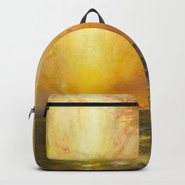 Golden Sunset and Sky over a Troubled Sea landscape painting by Thomas Moran Backpack