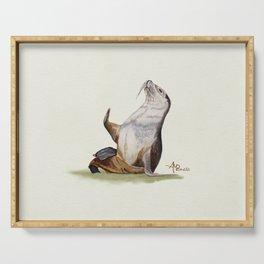 Sea Lion Watercolor Serving Tray