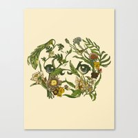 pug Canvas Prints featuring Botanical Pug by Huebucket