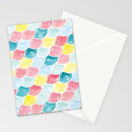 Mermaid Scales | Pink, Blue and Yellow Stationery Cards