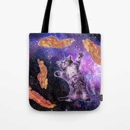 Cat Frying Bacon With Eye Laser                                                   Tote Bag