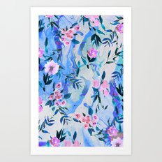 Floral Marble Swirl Art Print